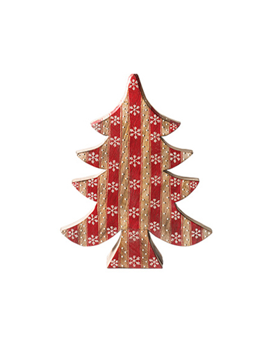 Red Stripe Wooden Christmas Tree