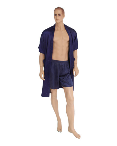 Long Satin Kimono and Boxer Shorts Set
