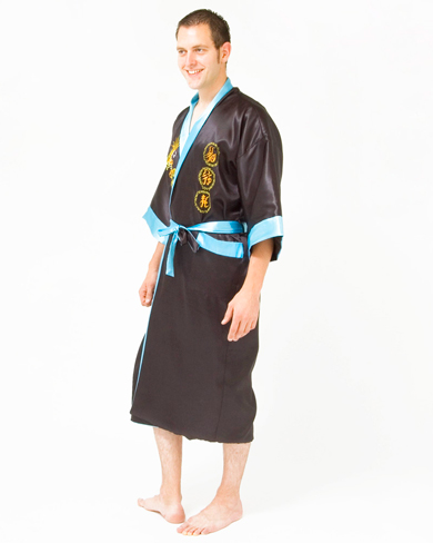 Satin Kimono with Embroidered Dragon