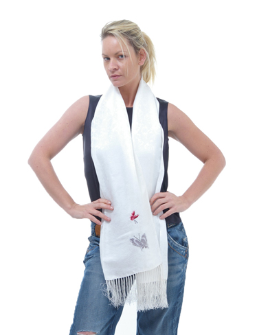 Long Embroidered Silk Scarf with Fringe
