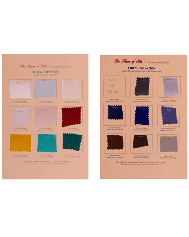 Satin Swatch Cards