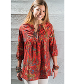 Pintuck Floral Print Tunic